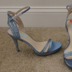 BETSEY JOHNSON Blue Sparkle Ella Strappy Sandal